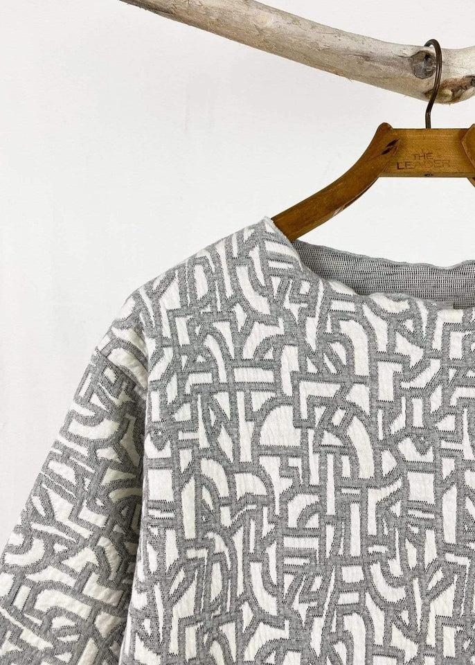 haystacks top Grey and White Heather Quilted Waffle Taylor Sweater