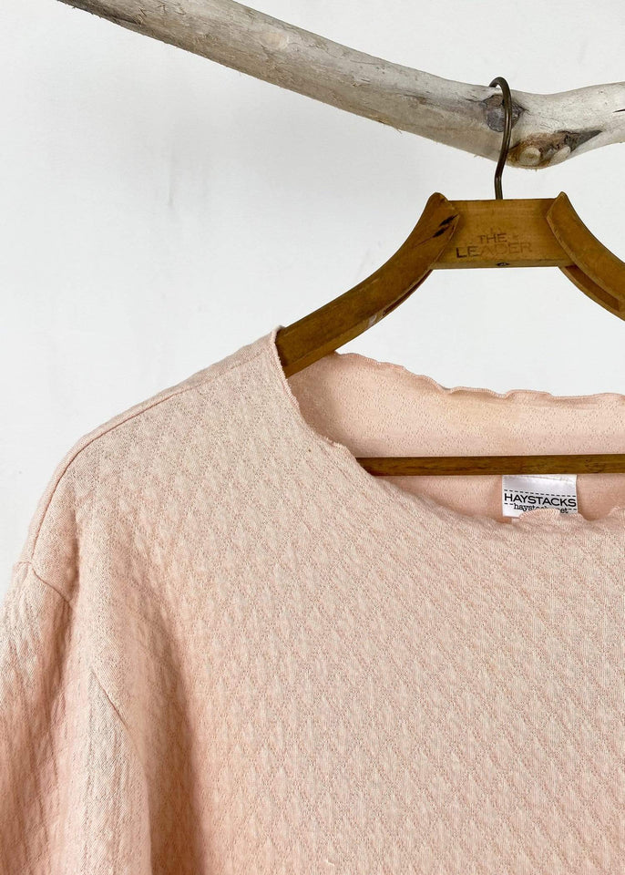 haystacks top Pretty Pink Quilted Waffle Taylor Sweater