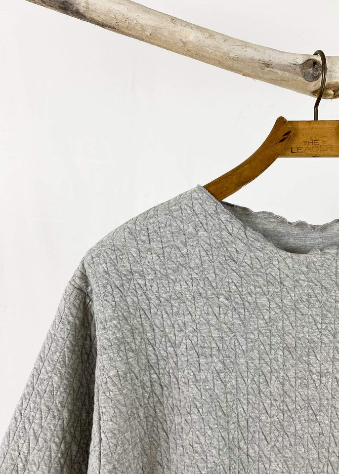 haystacks top Solid Grey Quilted Waffle Taylor Sweater