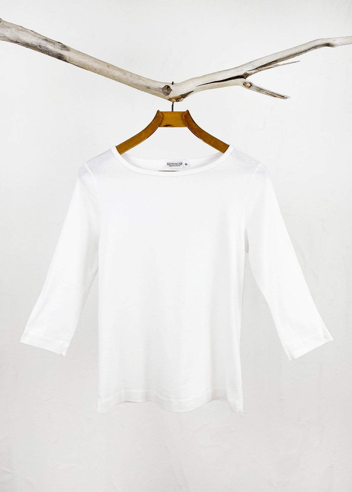 Haystacks top White / Small Leelanau Cotton Relaxed Boatneck Tee