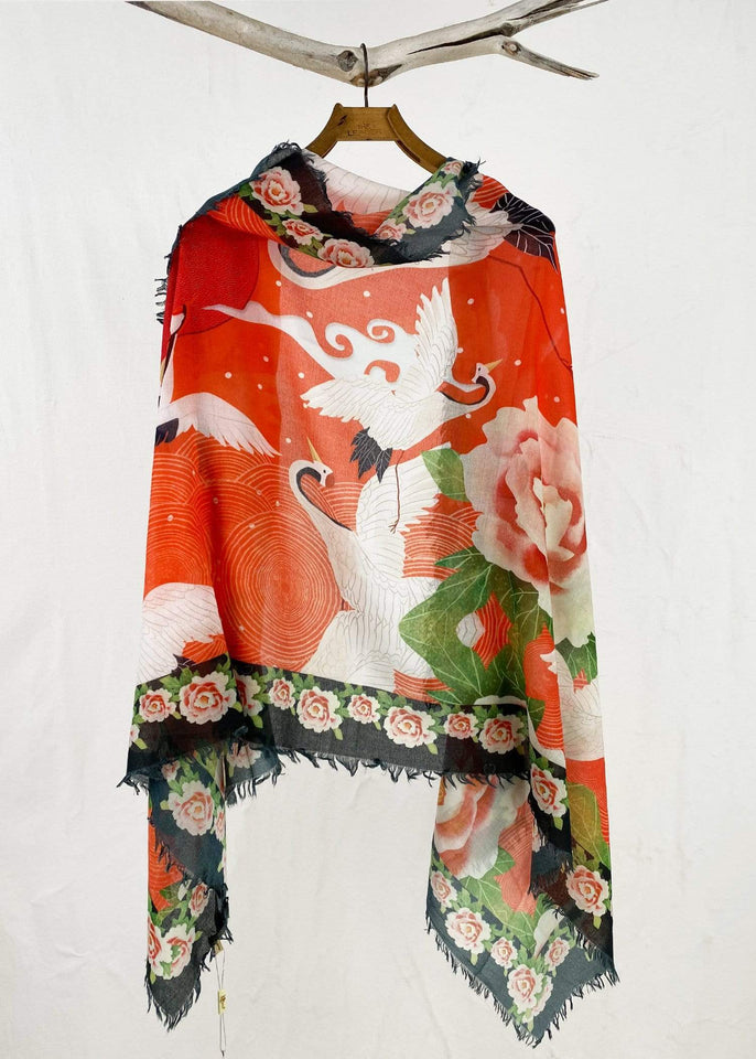 JC Sunny Scarf Poppy Holiday Crane Scarf