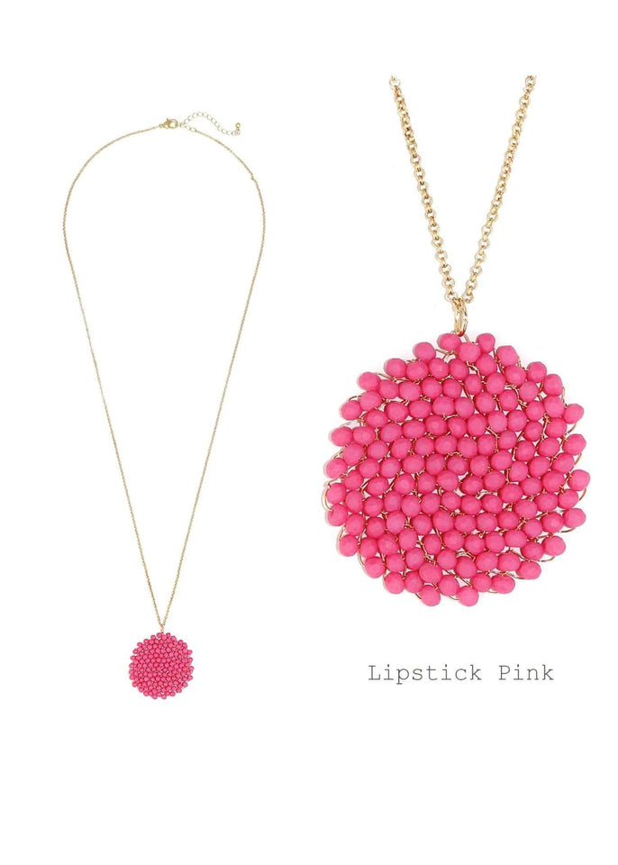 Jewelry necklace Lipstick Pink Beaded Pendant Necklace