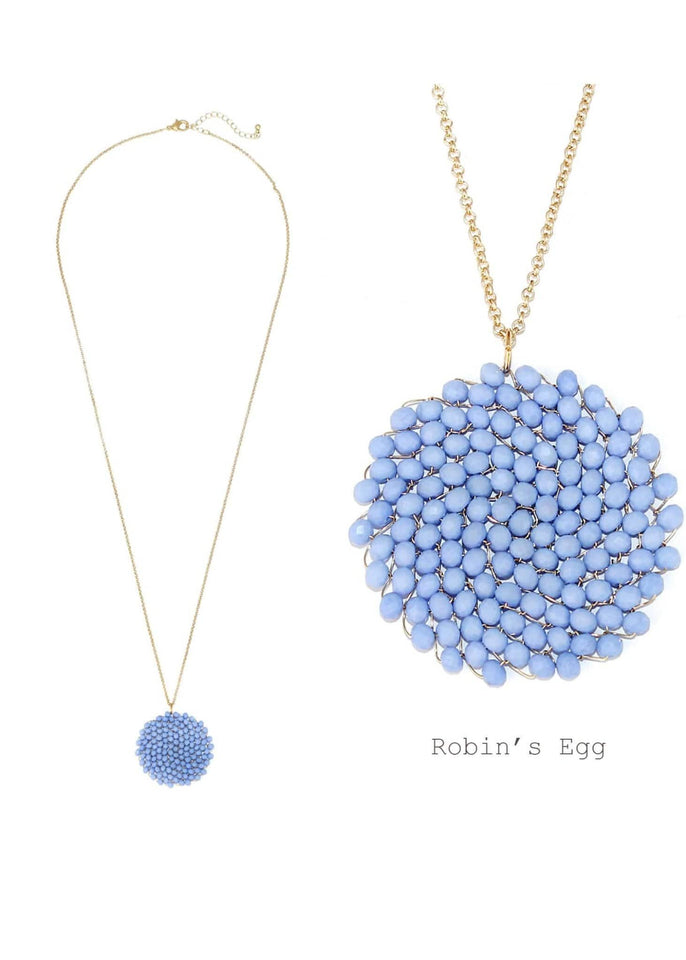 Jewelry necklace Robin's Egg Beaded Pendant Necklace