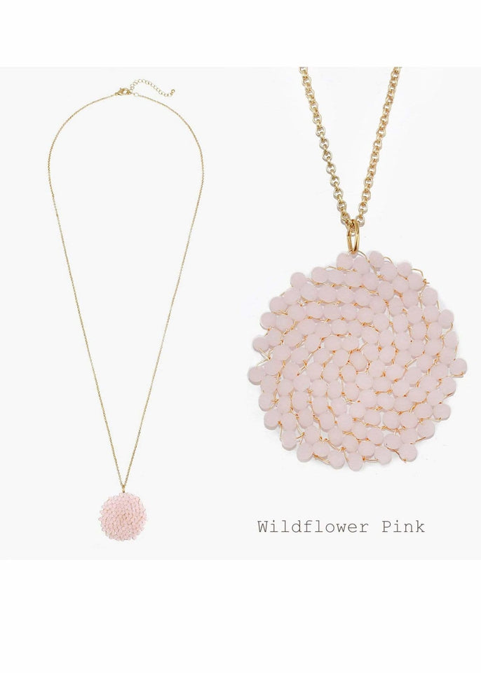 Jewelry necklace Wildflower Pink Beaded Pendant Necklace