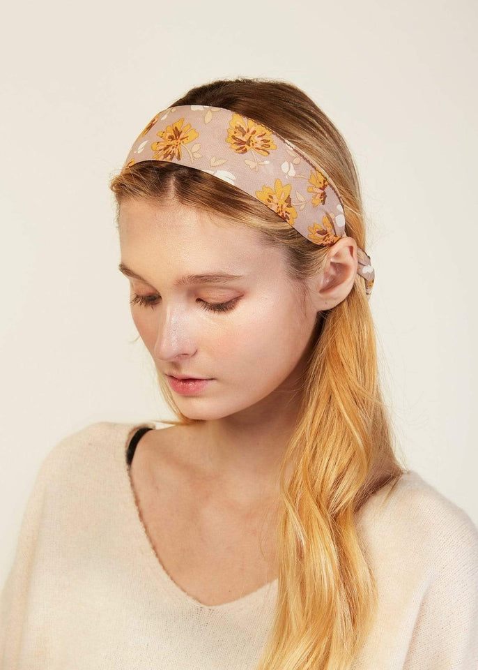 Look by M Hair Accessory Beige Floral Scarf Headband