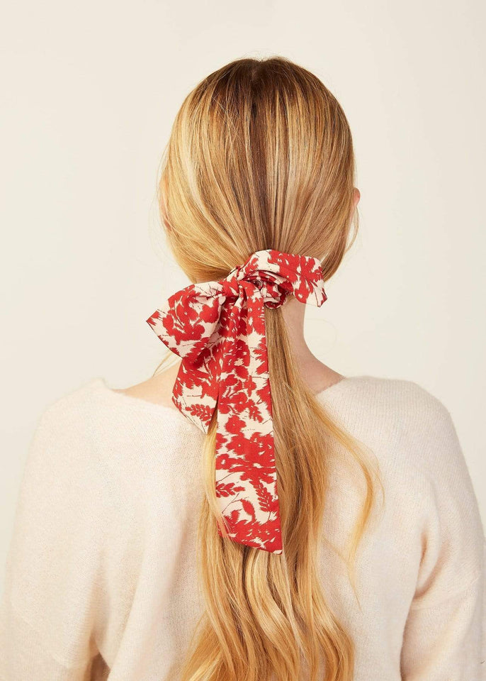 Look by M Hair Accessory Red Floral Garden Scarf Scrunchie