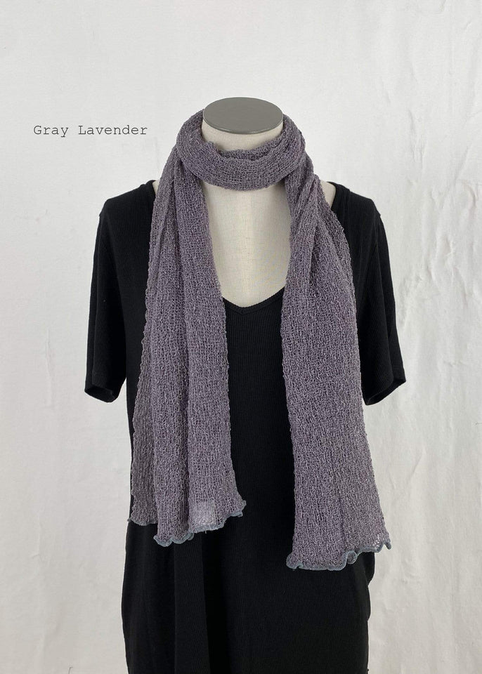Lost River Scarf Gray Lavender Lightweight Knitted Scarf