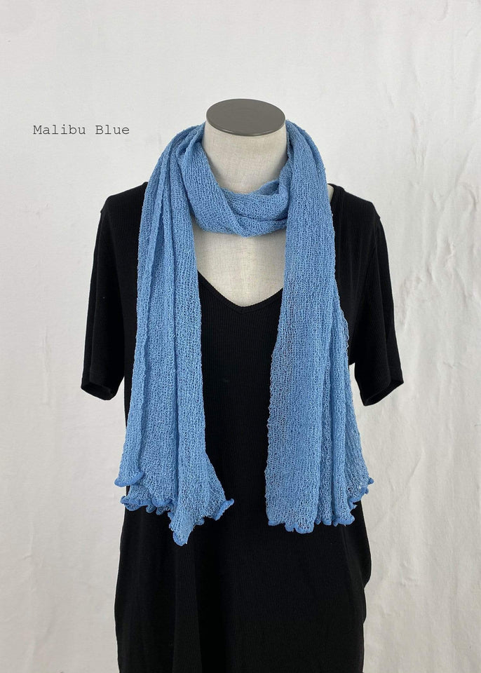 Lost River Scarf Malibu Blue Lightweight Knitted Scarf