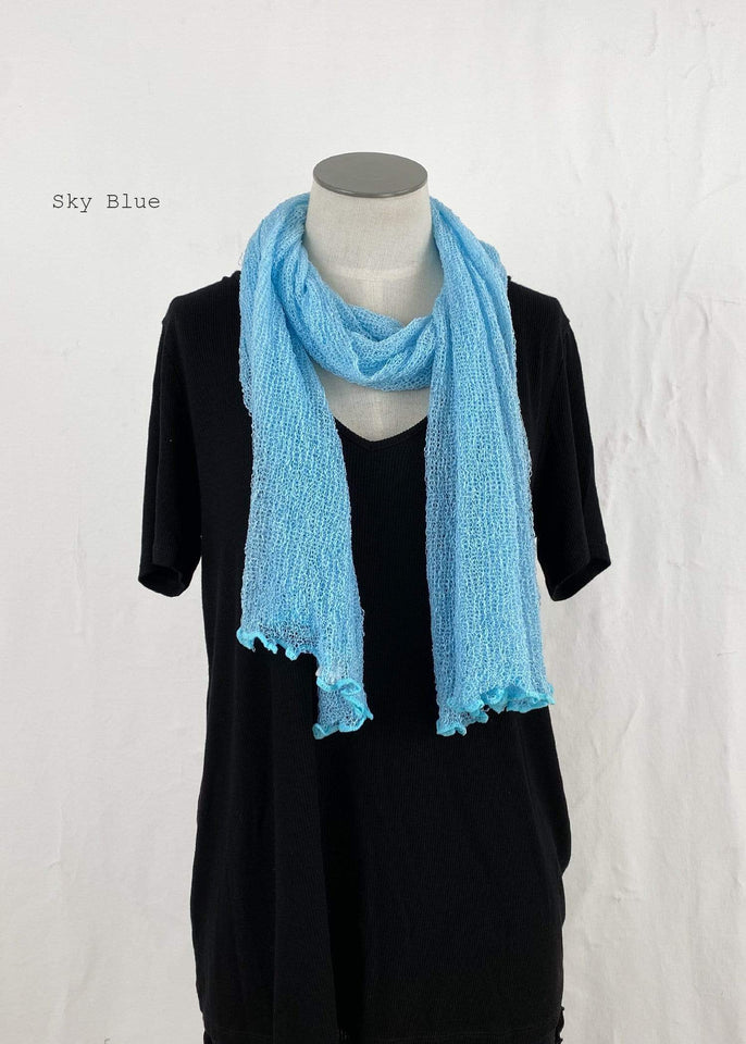Lost River Scarf Sky Blue Lightweight Knitted Scarf