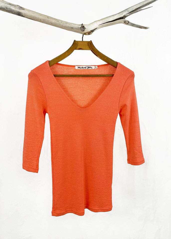Michael Stars top Pink Grapefruit Michael Stars Shine 3/4 Sleeve Double V-Neck