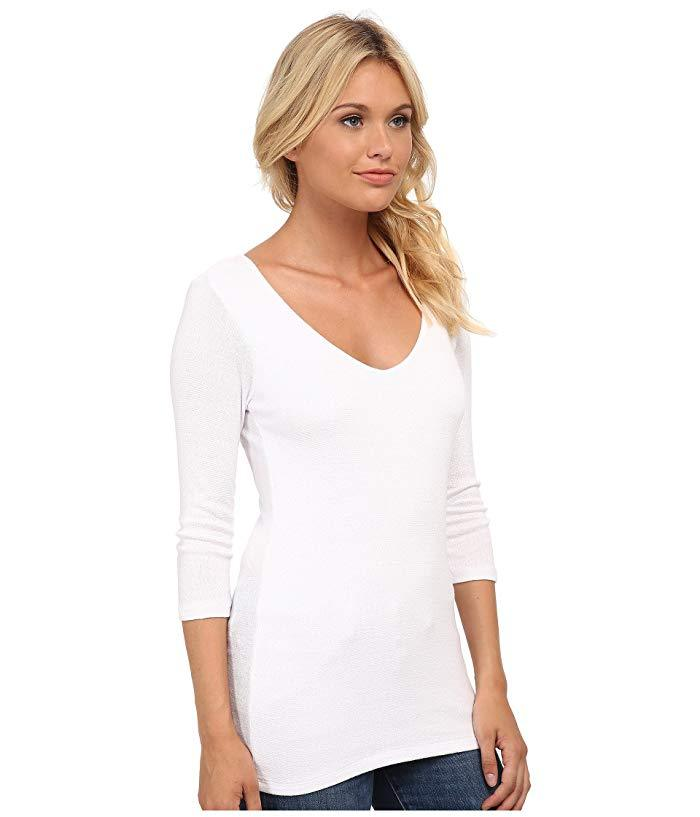 Michael Stars top White Michael Stars Shine 3/4 Sleeve Double V-Neck