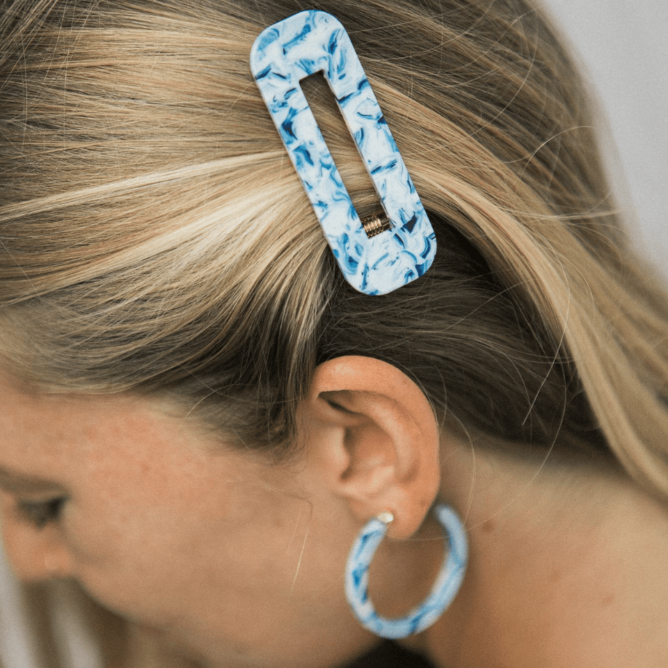 Nat + Noor Hair Accessory Blue Ocean Tortoise Barrette Duo