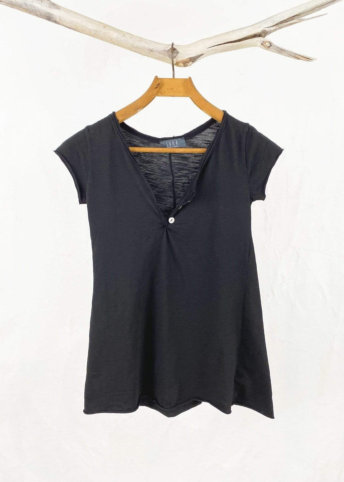 Saga top Black Saga Cotton Henley Tee