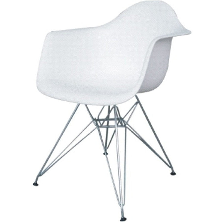 Eames Style Wire Leg Dining Arm Chair, White