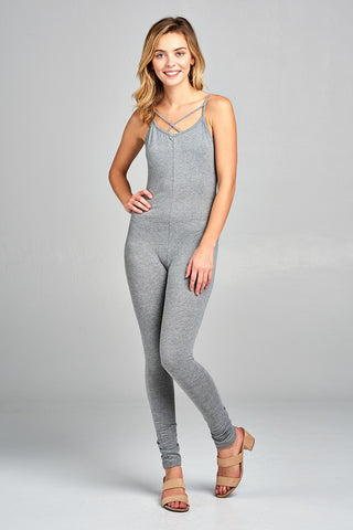 Ladies fashion front cross strap cami bodycon jersey cotton spandex jersey jumpsuit