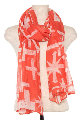 Mix cross pattern oblong scarf