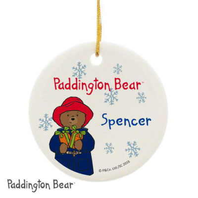 Personalised Paddington Bear Christmas Round Ceramic Decoration - AzanatekSaver