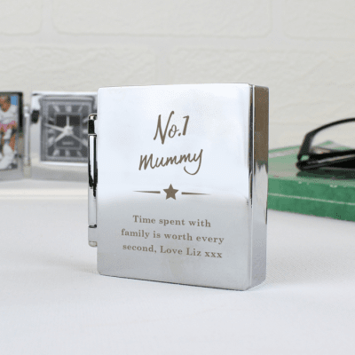 Personalised 'No.1' Photo Frame Travel Clock