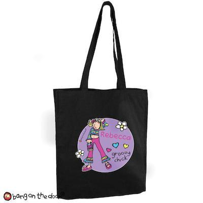 Personalised Bang on the Door Groovy Chick Black Cotton Bag - AzanatekSaver