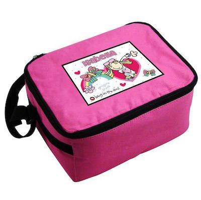 Personalised Bang on the Door Groovy Chick Pink Lunch Bag - AzanatekSaver