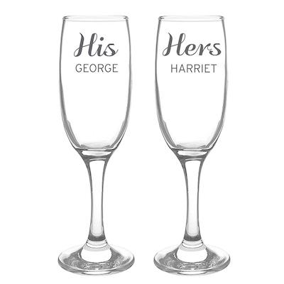 Personalised Classic Pair of Flutes with Gift Box