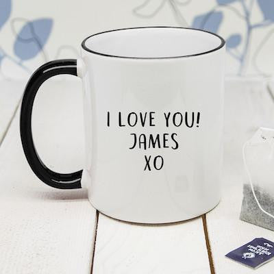 Personalised Fine-Apple Black Rimmed Mug