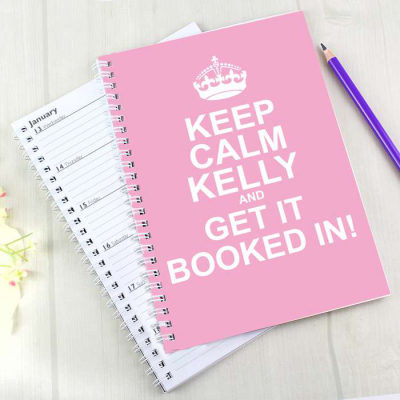 Personalised Keep Calm Pink A5 Diary - AzanatekSaver