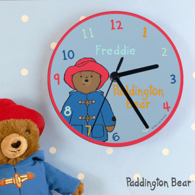 Personalised Paddington Bear Glass Clock - AzanatekSaver