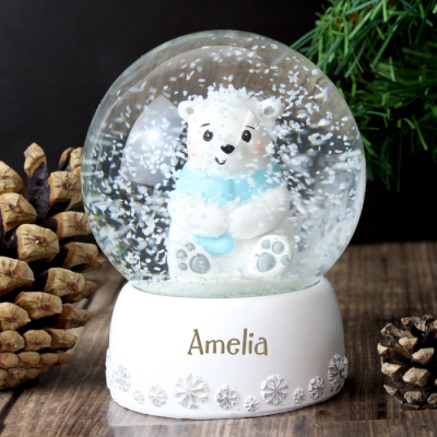 Personalised Polar Bear Any Name Snow Globe - AzanatekSaver