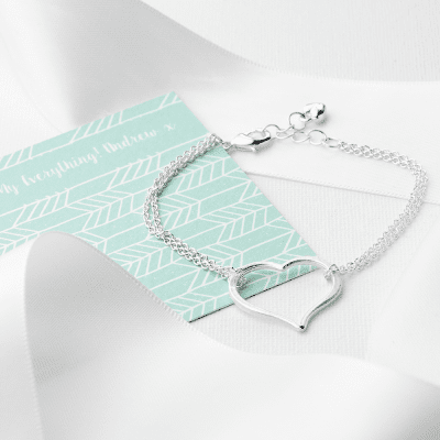 Personalised Silver Plated Open Heart Friendship Bracelet - AzanatekSaver