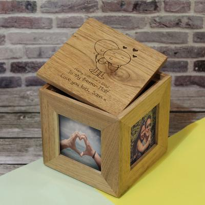 Chilli and Bubbles Valentine's Day Wooden Photo Cube - AzanatekSaver