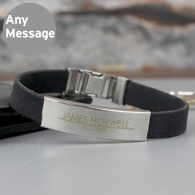 Personalised Classic Stainless Steel Men's Black Bracelet - AzanatekSaver