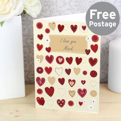 Personalised Fabric Hearts Design Card - AzanatekSaver