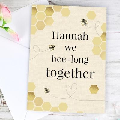 Personalised We Bee-Long Together Card - AzanatekSaver
