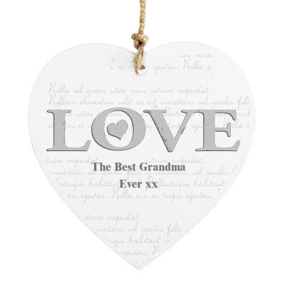 Personalised LOVE Wooden Heart Decoration - AzanatekSaver
