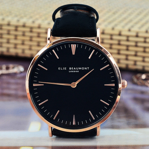 Modern - Vintage Personalised Leather Watch in Black - AzanatekSaver