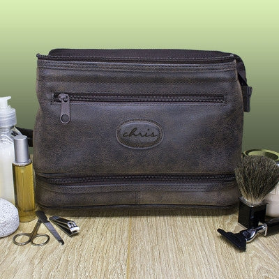 Men's Personalised Expandable Suede Textured Wash Bag - AzanatekSaver