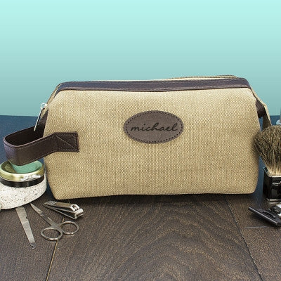 Men's Personalised Expandable Textured Canvas Wash Bag - AzanatekSaver