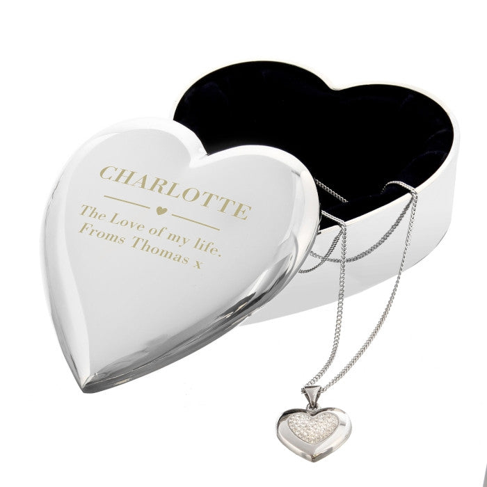 Engraved Heart Trinket Box & Silver Crystal Heart Pendant Gift Set