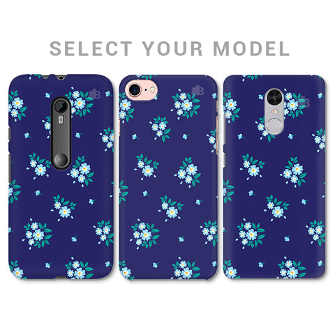 Blue Floral Pattern Phone Cover