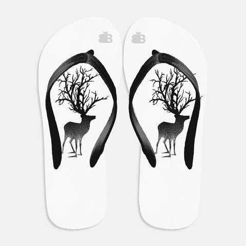 Abstract Deer Flip Flops
