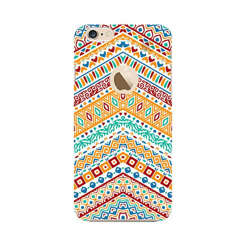 Wavy Ethnic Art Apple iPhone 6 with Apple Round  Phone Cover