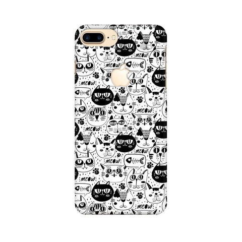 Cute Cats Pattern Apple iPhone 7 Plus with Apple Cut Phone Cover