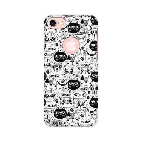 Cute Cats Pattern Apple iPhone 7 with Round Cut Phone Cover