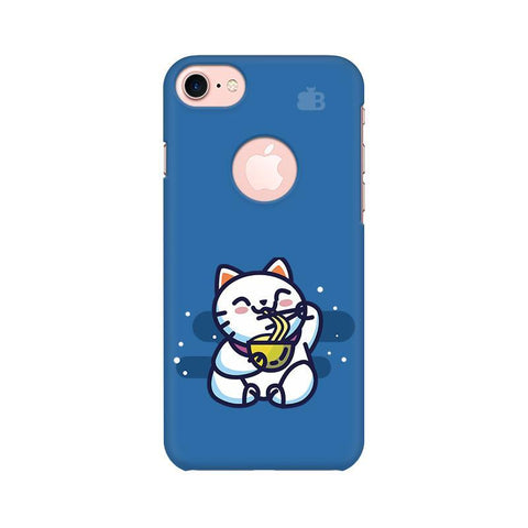 KItty eating Noodles Apple iPhone 7 with Round Cut Phone Cover