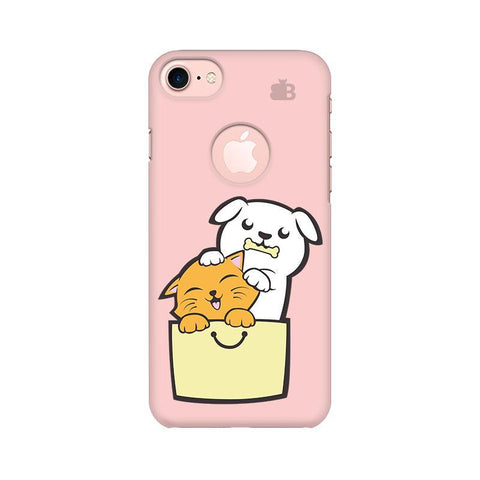 Kitty Puppy Buddies Apple iPhone 7 with Round Cut Phone Cover