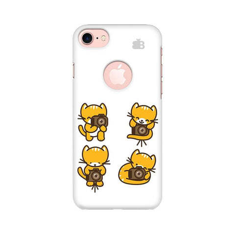 Photographer Kitty Apple iPhone 7 with Round Cut Phone Cover