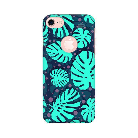 Tropical Leaves Pattern Apple iPhone 7 with Round Cut Phone Cover