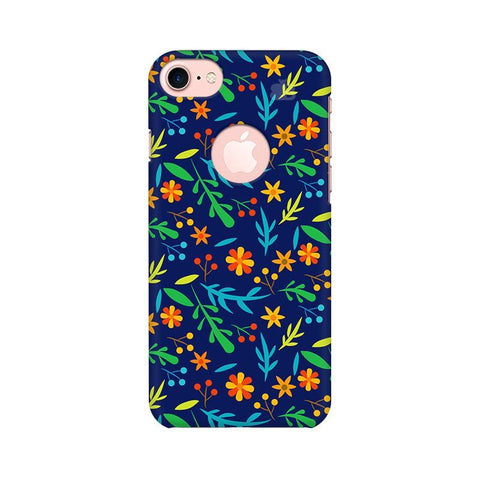Vibrant Floral Pattern Apple iPhone 7 with Round Cut Phone Cover