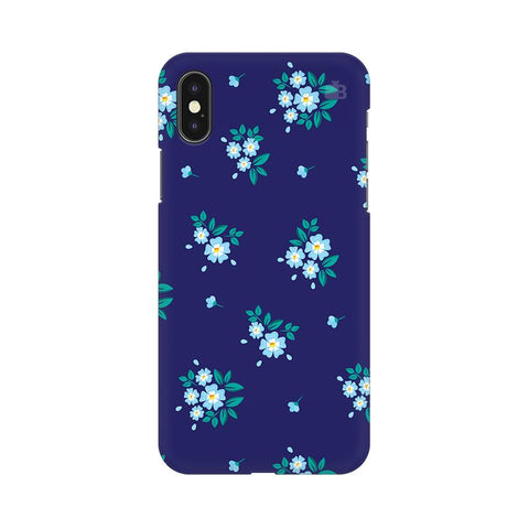 Blue Floral Pattern Apple iPhone XS Cover